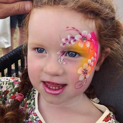 Neon flower face paint