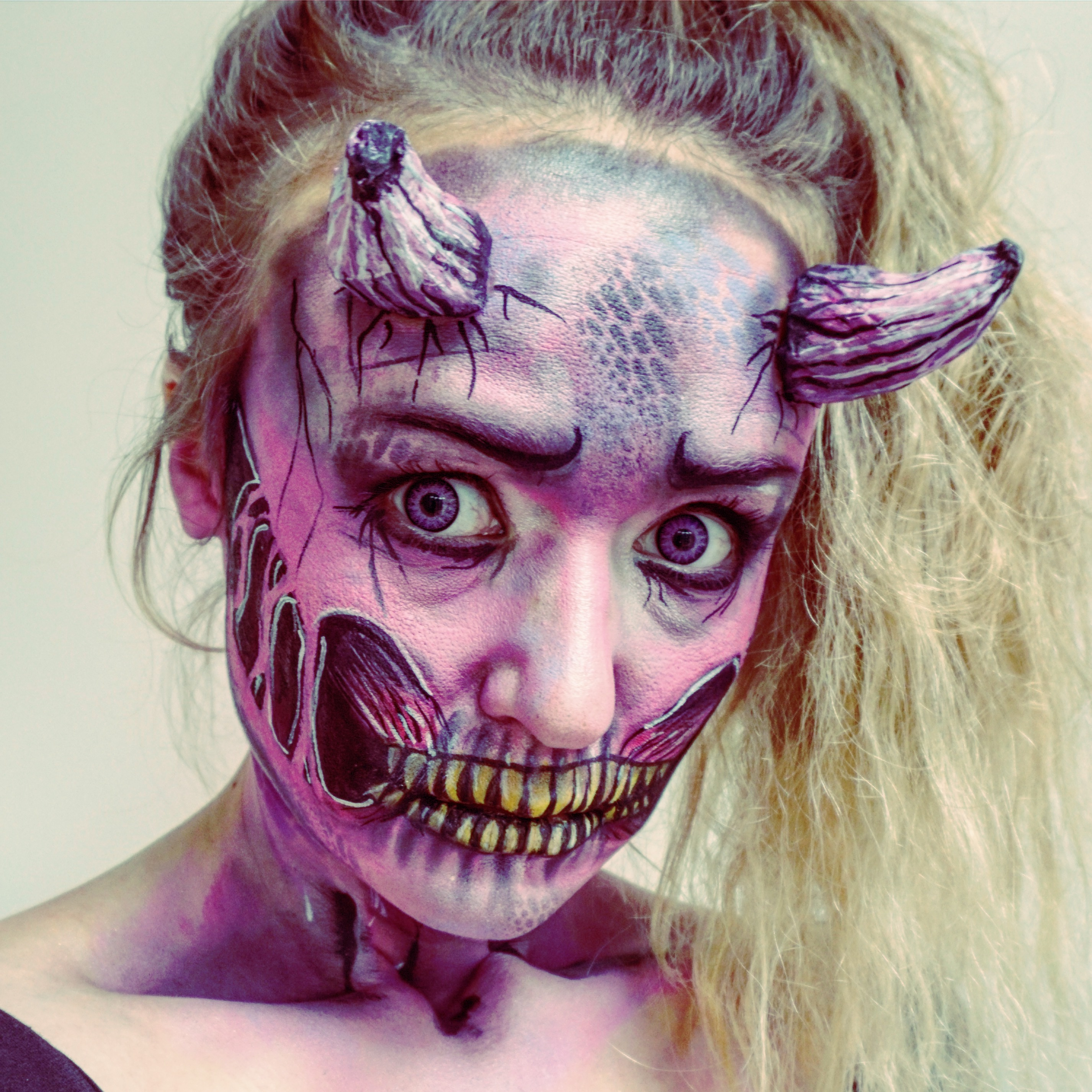 Pink demon make up