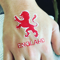 England lion face paint badge
