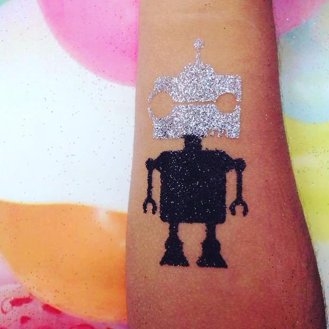 Robot glitter tattoo