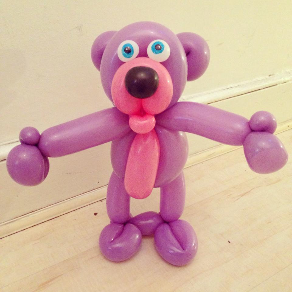 Purple bear balloon animal