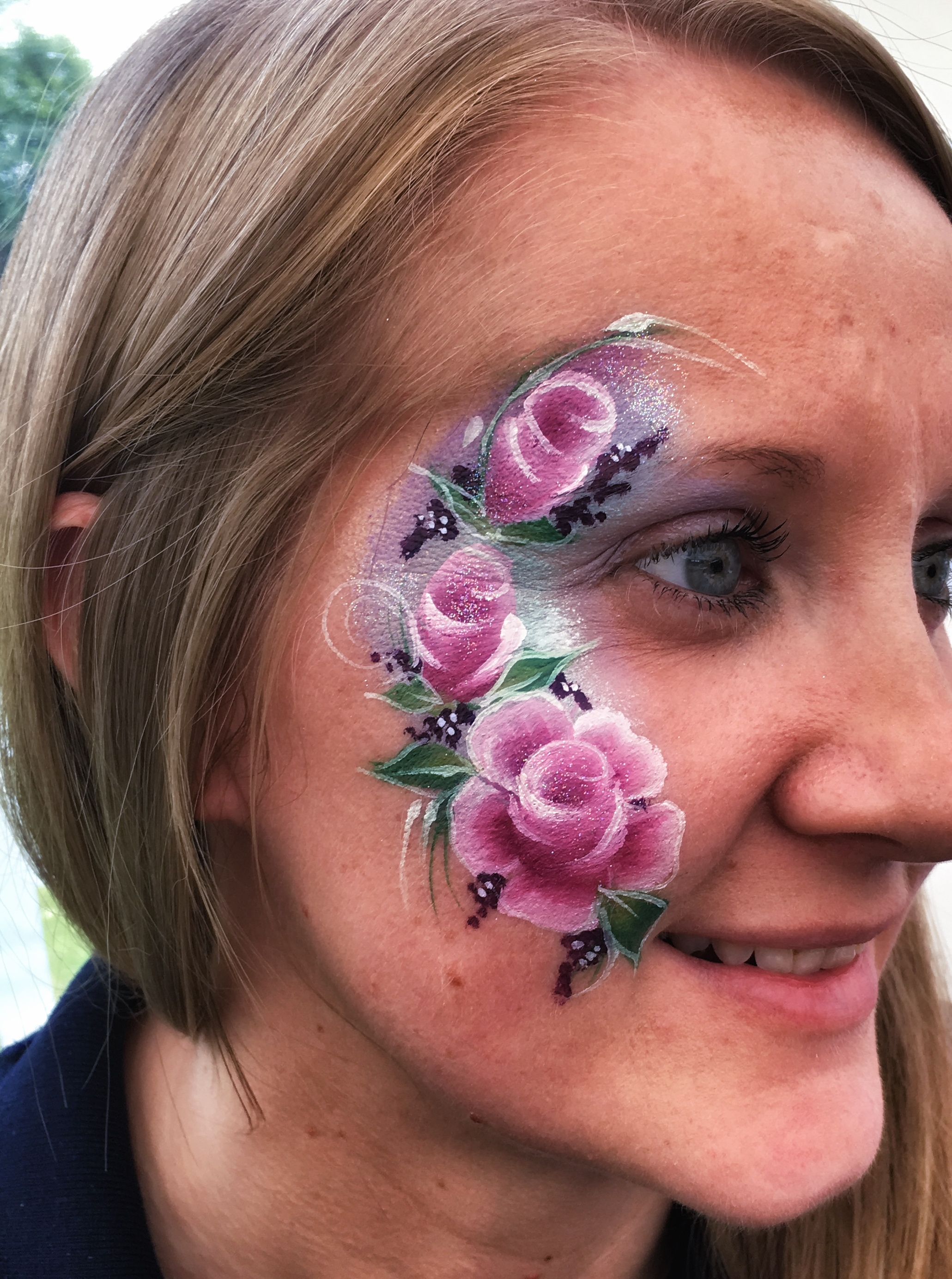 Beautiful rose face paint