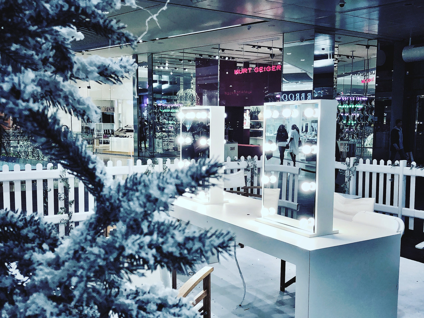 Winter make up station at Westfield