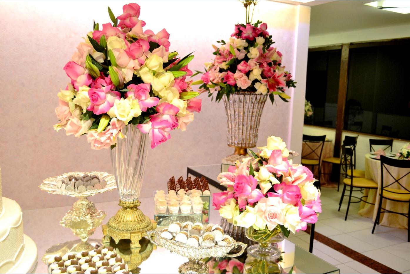 decor casamento rosa e branco
