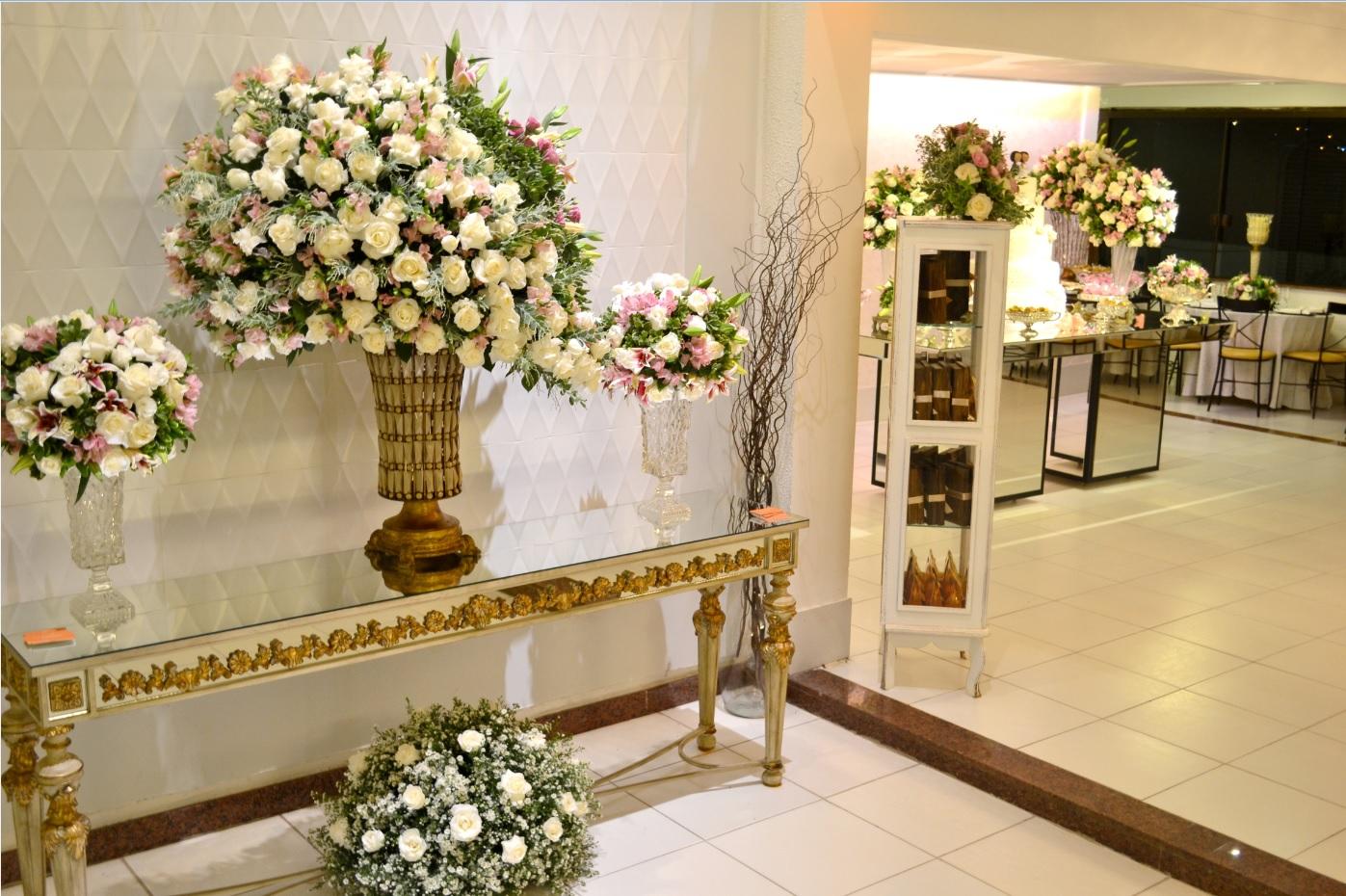 decor casamento branco e rosa