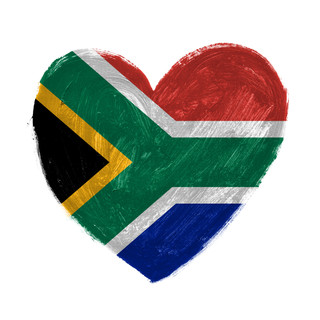 Hand drawn heart with flag of South Afri