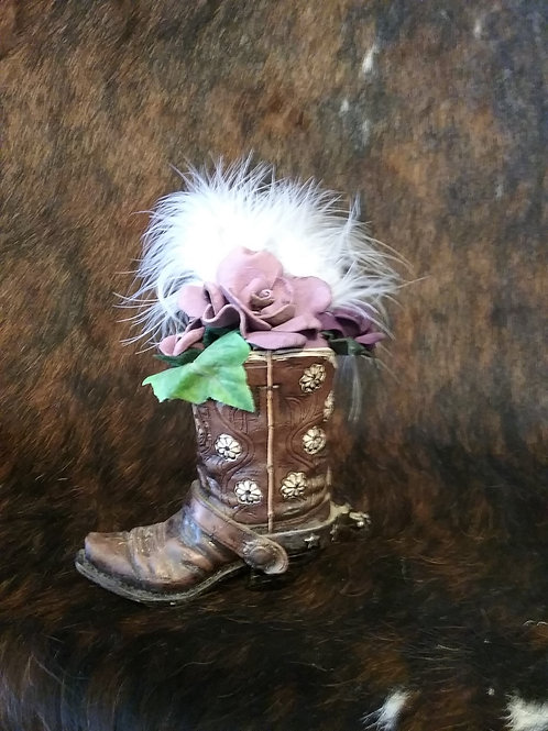 Cowboy boot with leather roses