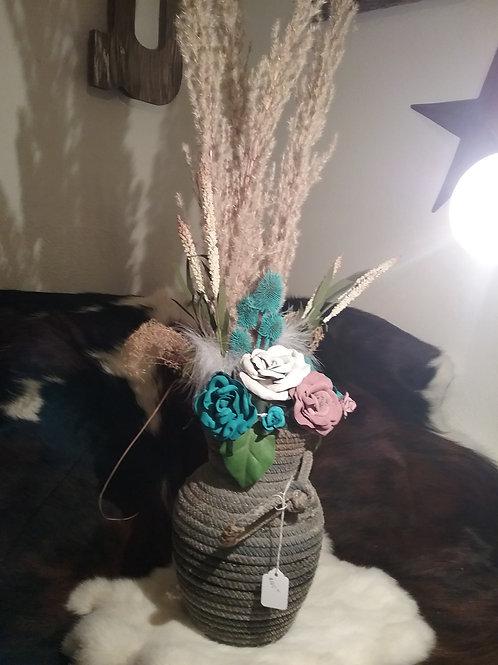 Rope vase-turquoise, mauve,white leather  roses #4