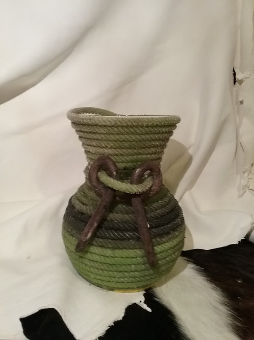 Green rope vase with hardware
