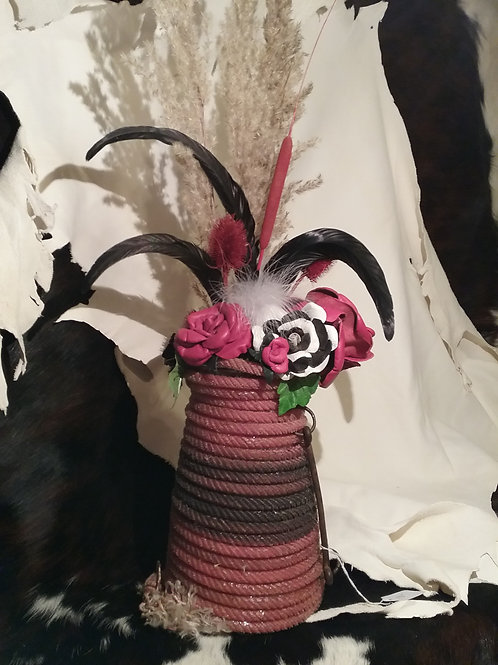 Rope vase with red roses #5