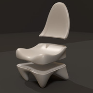 Blender model for a chair, this is for Krypton, the model has been split into the sections for milling.