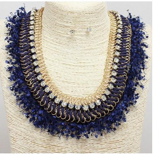 Denim Inspired Collar Necklace