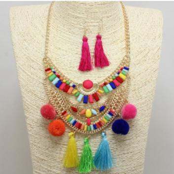 Pop of Color Statement Necklace Set