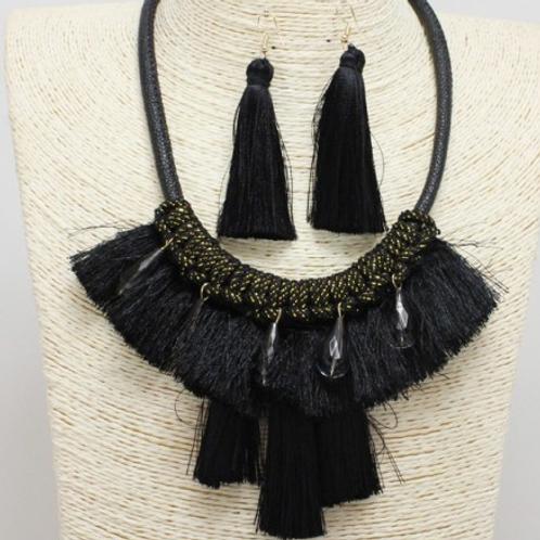 Bejeweled Tassel Statement Necklace - Black/Gold