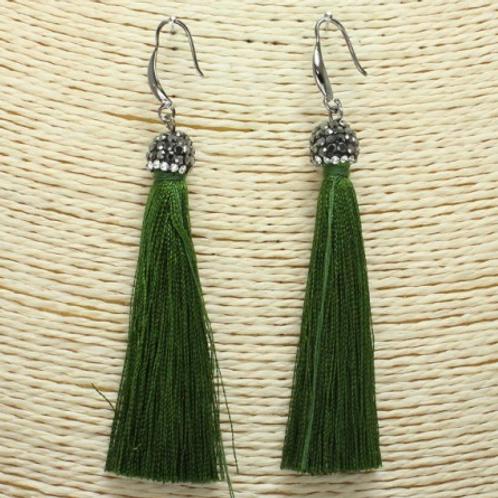 Olive Tassel Bling Earrings