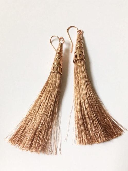 Rose Gold Tassel Earrings