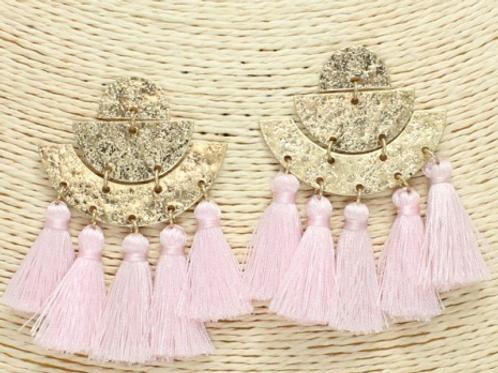 Soft Pink Tassel Earrings