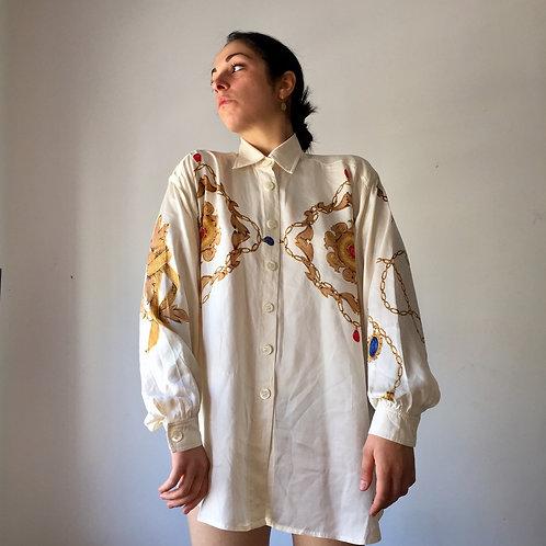 Camicia broccata '80s in pura seta