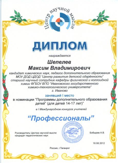 """Диплом международного конкурса учителей """"Профессионалы"""""""