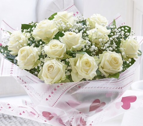 Hand Tied Bouquet of White Roses