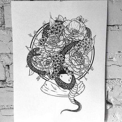 Floral Snake Screen Print