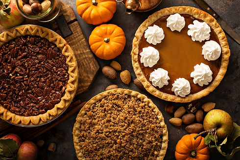 Fall traditional pies pumpkin, pecan and