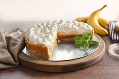 Delicious banana cake on table.jpg