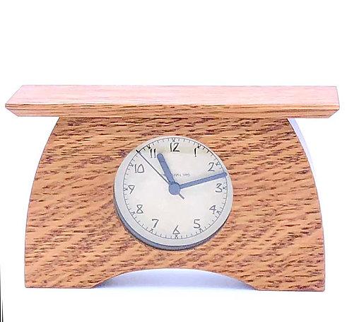 "Mantel Clock:  Nut Brown Oak, 7.5""h x 4.5""w x 2.25""d  WZ214"