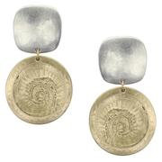 Earrings: Textured brass disc, silver square, post  1JE375