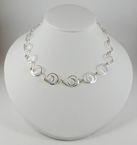 Necklace: Sterling Silver with Gold Beads 2JA67