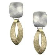 Earrings: Brass dangle with silver, *Clip  1JE356