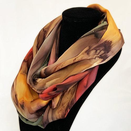 "Hand-Painted Silk Scarf, 11"" x 60""   MV316"