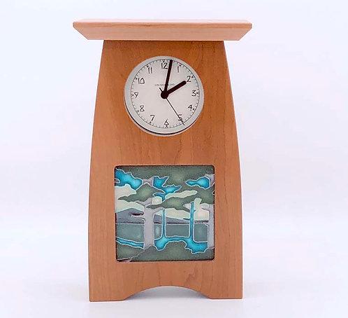 "Mantel Clock w Tile, Cherry  10""h x 6""w x 3.25""d  WZ189"