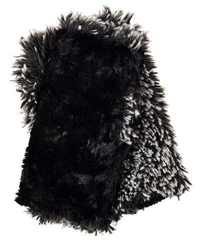 "Pandemonium Millinery Fingerless Gloves ""Silver-tipped Fox w Black"" M839"