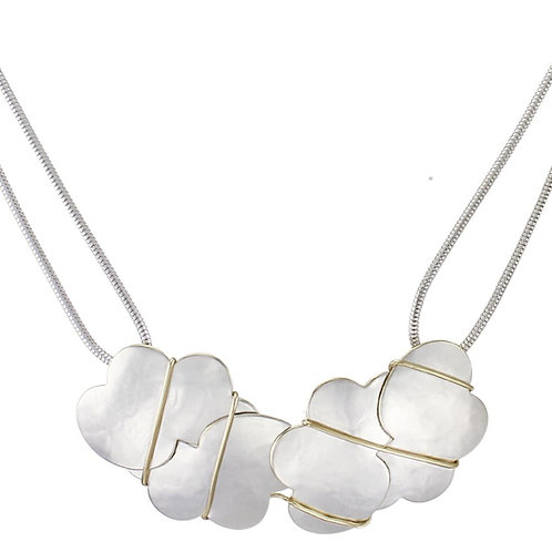 Necklace: Hammered Silver Shapes w Brass, Rope Chain   1JE320