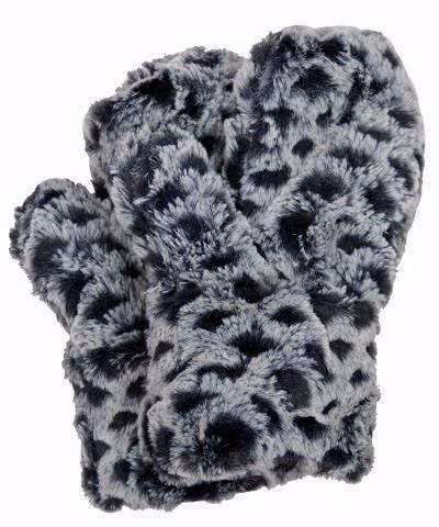 """Pandemonium Faux Fur Reversible Mittens: """"Rosebud in Snow Owl"""" MC811"""