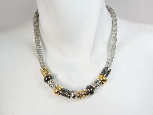 Necklace: Black Nickel, Rhodium, Gold Plate Beads  JZ566