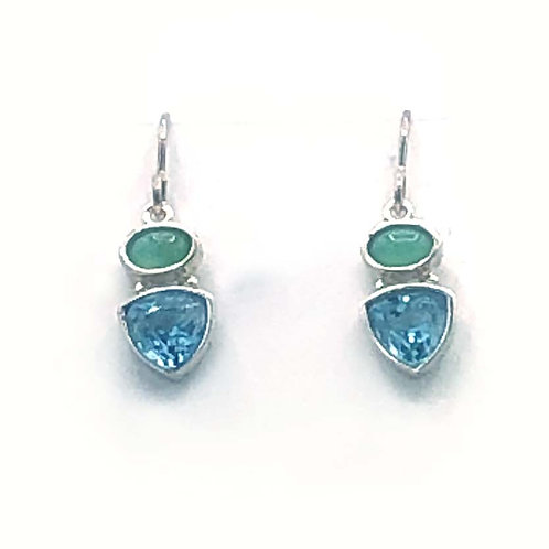 Earrings: Sterling Trillion w Blue Topaz, Chalcedony  JF320