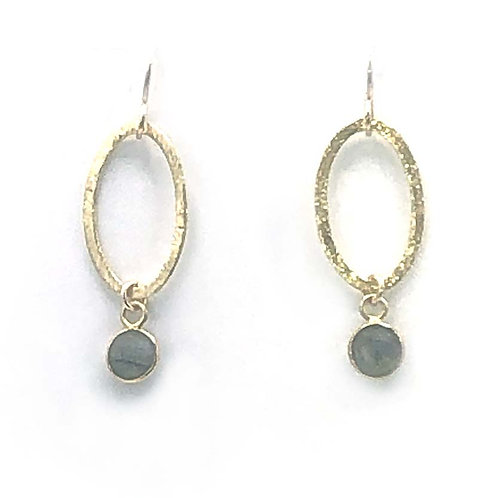 Earrings: Vermeil Oval with Labradorite drop   JF342