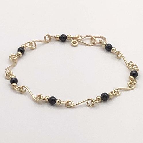 "Bracelet: Gold Filled w Black Onyx Beads, 8""                      JI164"