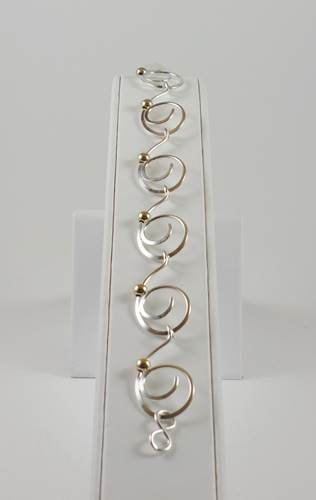"Bracelet: Sterling Silver w Gold Filled Bead 7.5"" 2JA14"