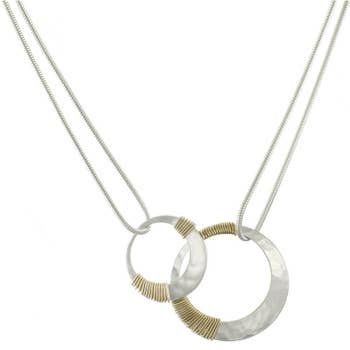 Necklace - Silver Disks, Brass Wrap, SS Chain       1JE323