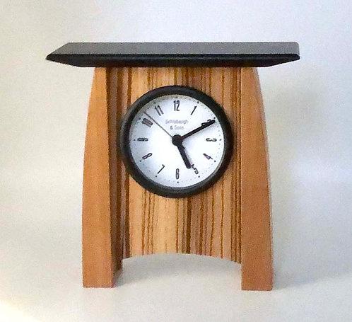 Shelf Clock: Veneer- cherry/maple  7w x 6.75h x3d   WZ228