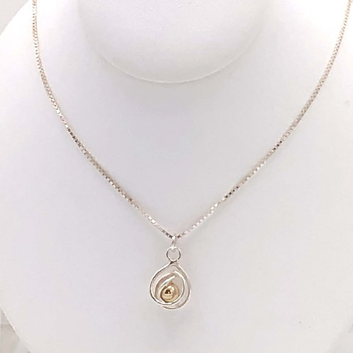 Necklace: Sterling Silver w Gold Bead, SS Box Chain  JI148
