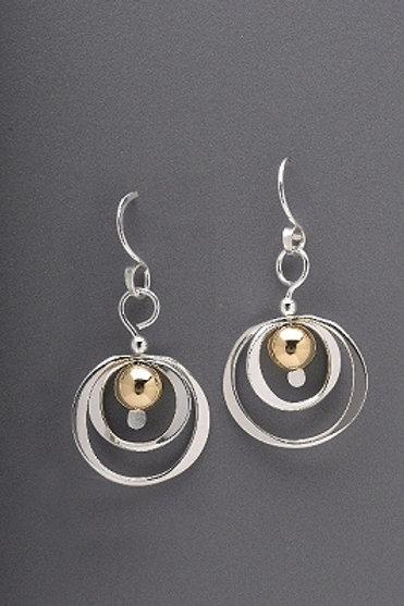 Earring - Sterling Silver Rings w G. Filled Bead, Dangle     JI161