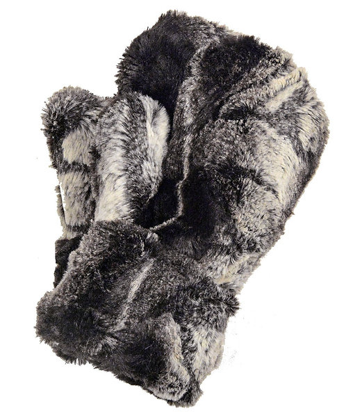 "Pandemonium Faux Fur Reversible Mittens: ""Honey Badger"" MC815"