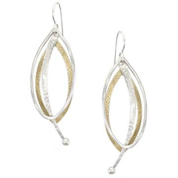 Earrings, Brass and Silver mixed dangles   1JE342