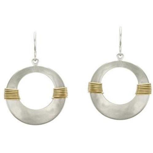 Earrings: Silver Disks, Brass Wrap, Dangles                 1JE324