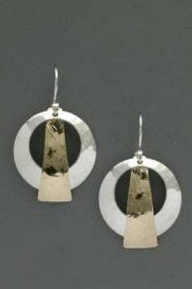 Earring - SS Disk w G. Filled Triangle, Dangle                JI75