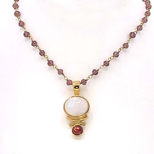 Necklace: Vermeil, Rainbow with Garnett  JF343
